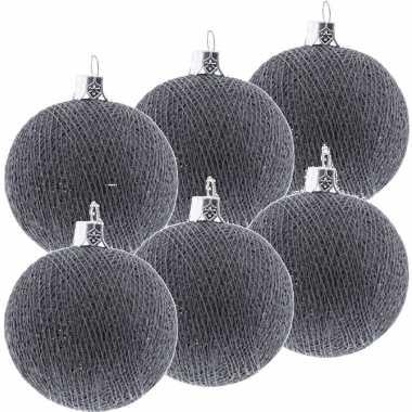 9x grijze cotton balls kerstballen 6,5 cm kerstboomversiering