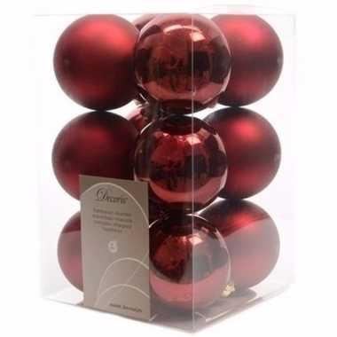 Ambiance christmas donker rode kerstversiering kerstballen pakket 12
