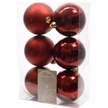 Ambiance christmas donker rode kerstversiering kerstballen pakket 6 s