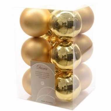 Ambiance christmas gouden kerstversiering kerstballen pakket 12 stuks
