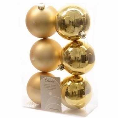 Ambiance christmas gouden kerstversiering kerstballen pakket 6 stuks