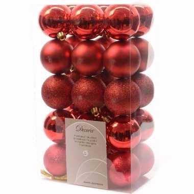 Ambiance christmas rode kerstversiering kerstballen pakket 30 stuks