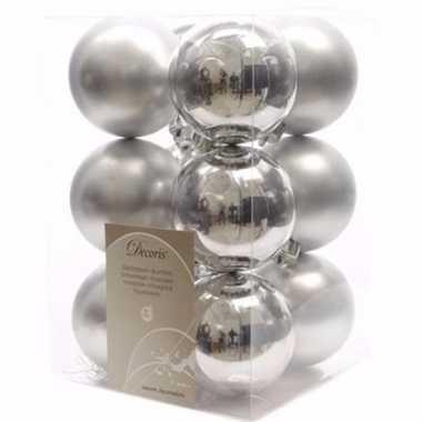 Ambiance christmas zilveren kerstversiering kerstballen pakket 12 stu