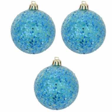 Blauwe kerstversiering 6x kerstballen blauw 8 cm