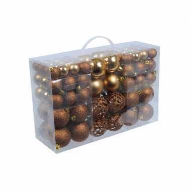 Bronzen plastic kerstballen 100 stuks