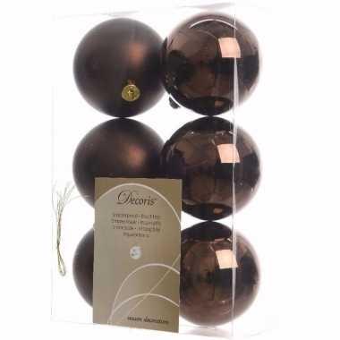 Chique christmas bruine kerstversiering kerstballen pakket 6 stuks
