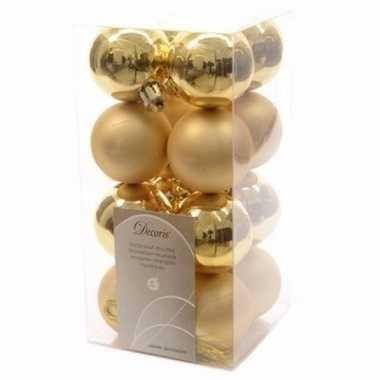 Chique christmas gouden kerstversiering kleine kerstballen pakket 16