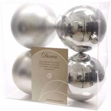Chique christmas zilveren kerstversiering kerstballen pakket 4 stuks