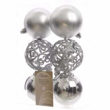 Chique christmas zilveren kerstversiering kerstballen pakket 6 stuks