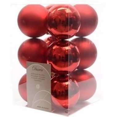 Christmas red rode kerstversiering kerstballen pakket 12 stuks