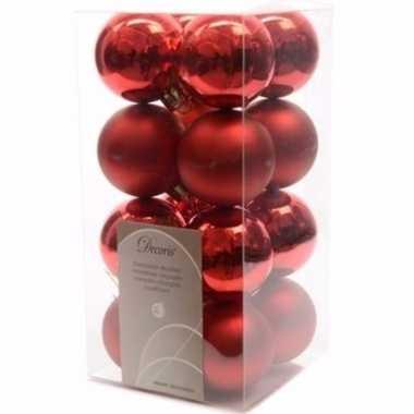 Christmas red rode kerstversiering kleine kerstballen pakket 16 stuks