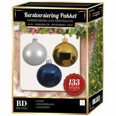 Complete kerstballen set 133x wit-goud-donkerblauw voor 180 cm kerstboom