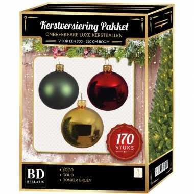 Complete kerstballen set 170x goud-donkergroen-kerst rood voor 210 cm kerstboom