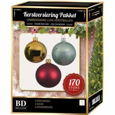 Complete kerstballen set 170x goud-donkerrood-mintgroen voor 210 cm kerstboom