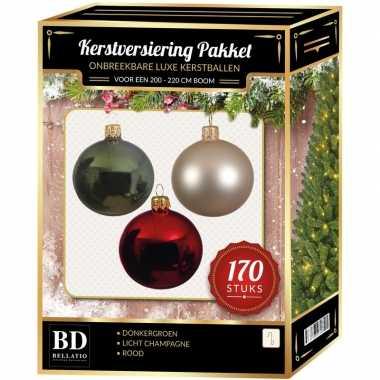 Complete kerstballen set 170x licht parel/champagne-donkergroen-kerst rood voor 210 cm kerstboom