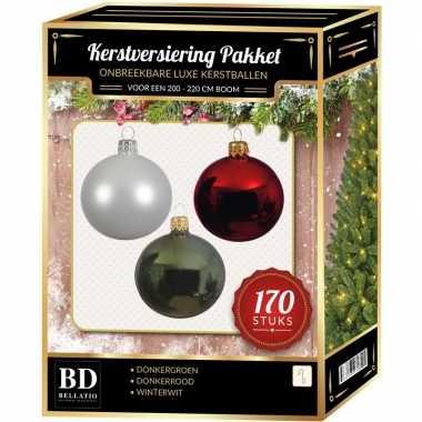 Complete kerstballen set 170x wit-donkerrood-donkergroen voor 210 cm kerstboom