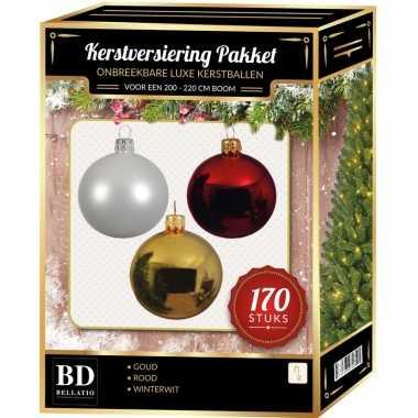 Complete kerstballen set 170x wit-goud-kerst rood voor 210 cm kerstboom