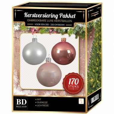 Complete kerstballen set 170x wit-lichtroze-oud roze voor 210 cm kerstboom