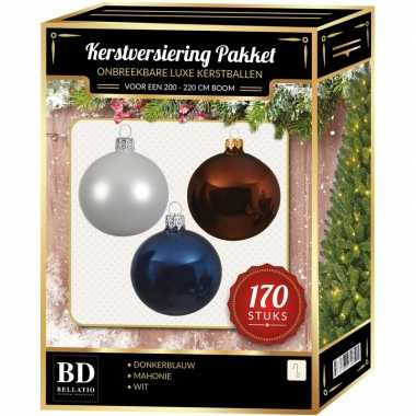 Complete kerstballen set 170x wit-mahonie bruin-donkerblauw voor 210 cm kerstboom