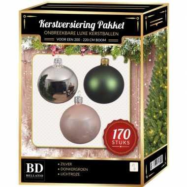 Complete kerstballen set 170x zilver-donkergroen-lichtroze voor 210 cm kerstboom