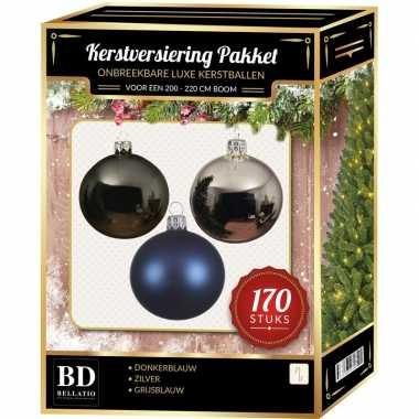 Complete kerstballen set 170x zilver-grijsblauw-donkerblauw voor 210 cm kerstboom