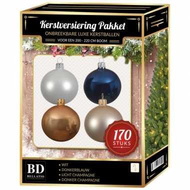 Complete kerstballen set champagne/wit/blauw voor 210 cm kerstboom