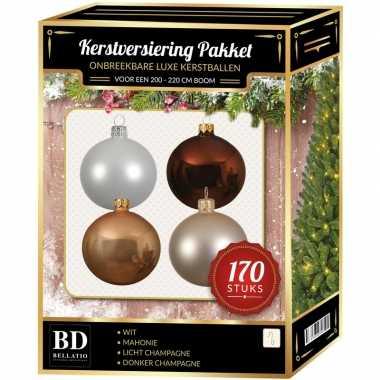 Complete kerstballen set champagne/wit/bruin voor 210 cm kerstboom
