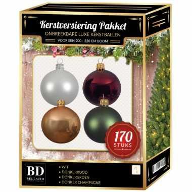Complete kerstballen set wit-champagne-donkerrood-donkergroen voor 210 cm kerstboom