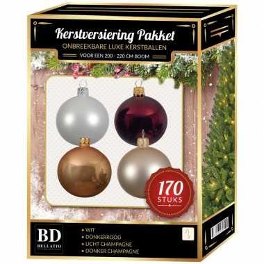 Complete kerstballen set wit-champagne-mahonie-donkerrood voor 210 cm kerstboom