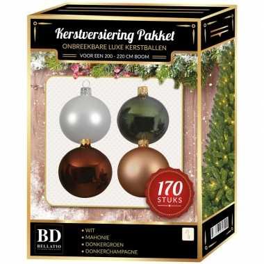 Complete kerstballen set wit-champagne-mahonie voor 210 cm kerstboom