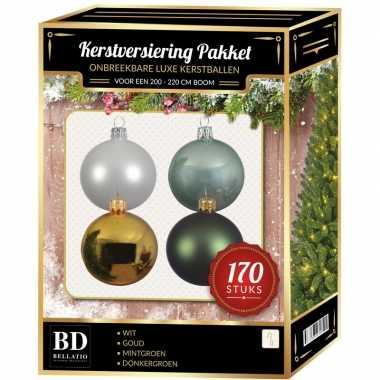 Complete kerstballen set wit-goud-donkergroen-mintgroen voor 210 cm kerstboom