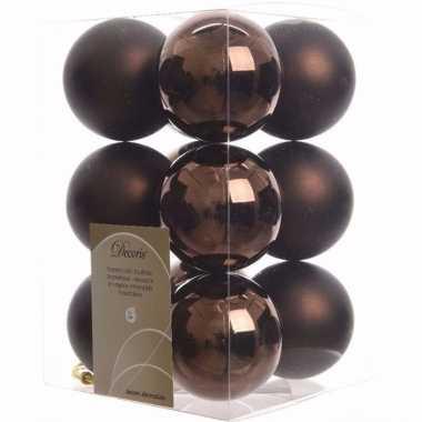 Cosy christmas bruine kerstversiering kerstballen pakket 12 stuks