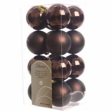 Cosy christmas bruine kerstversiering kleine kerstballen pakket 16 st