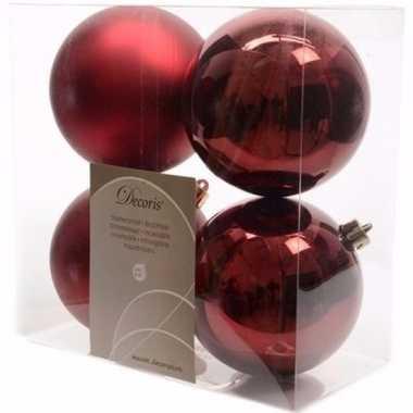 Cosy christmas donker rode kerstversiering kerstballen pakket 4 stuks