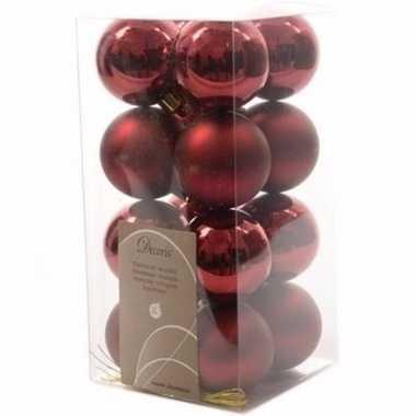 Cosy christmas donkerrode kerstversiering kleine kerstballen pakket 1