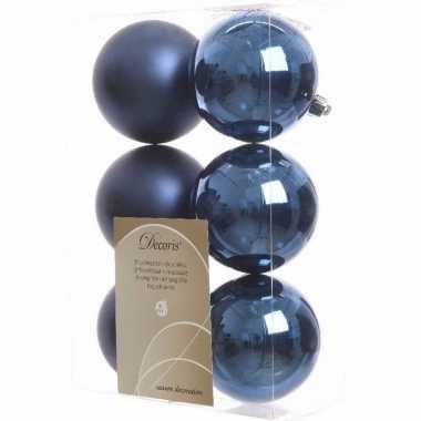 Elegant christmas blauwe kerstversiering kerstballen pakket 6 stuks