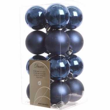 Elegant christmas blauwe kerstversiering kleine kerstballen pakket 16