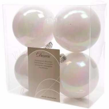 Elegant christmas witte kerstversiering kerstballen pakket 4 stuks