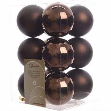 Glamour christmas bruine kerstversiering kerstballen pakket 12 stuks