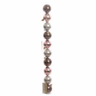 Glamour christmas bruine/roze/zilveren kerstversiering glanzende kers