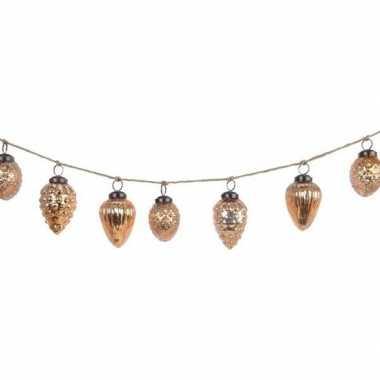 Glazen eikels kerstballen goud 6 cm aan slinger 120 cm