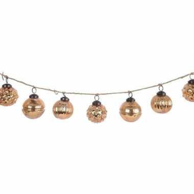 Glazen kerstballen goud 6 cm aan slinger 120 cm