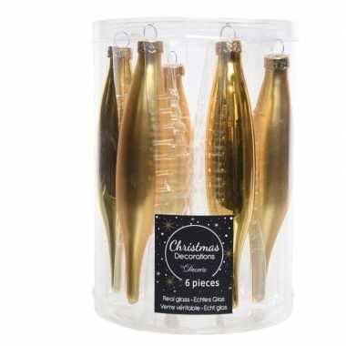 Gouden kerstballen pegels glas 6 stuks