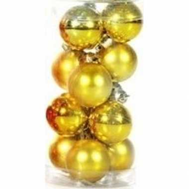 Gouden mini kerstballen 12 stuks