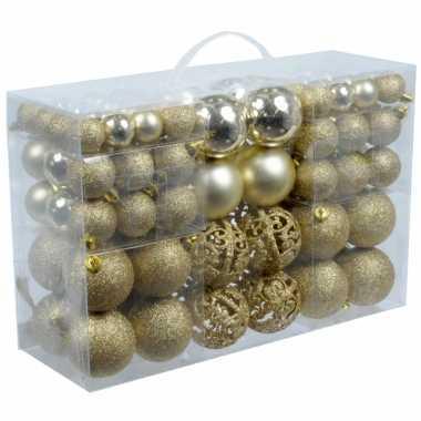 Gouden plastic kerstballen 100 stuks