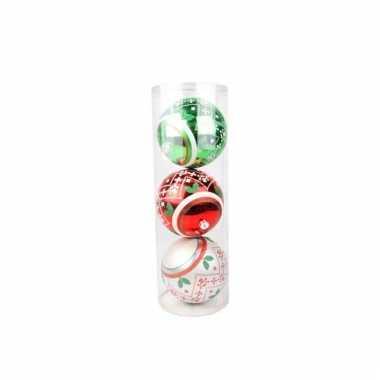 Grote rode/groene/zilveren kerstballen 3 stuks