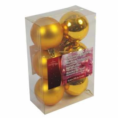 Kerst gouden kerstballen mix van kunststof 6 stuks