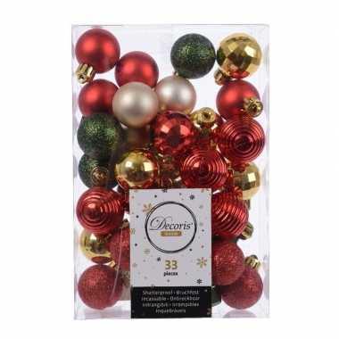 Kerst kerstballen set rood/ champagne/ goud en groen 33 delig plastic