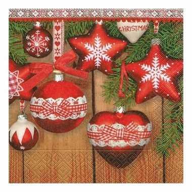 Kerst servetten met kerstballen