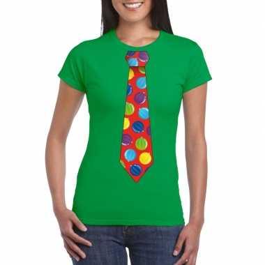 Foute Kersttrui Dames Goedkoop.Kerst T Shirt Stropdas Met Kerstballen Print Groen Voor Dames